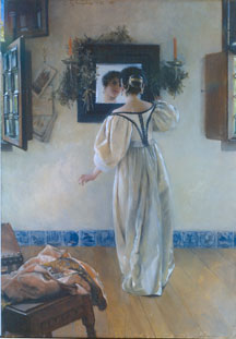 A KNOCK AT THE DOOR, Laura Alma-Tadema (1897, oil on panel, Currier Museum of Art, Manchester, NH)