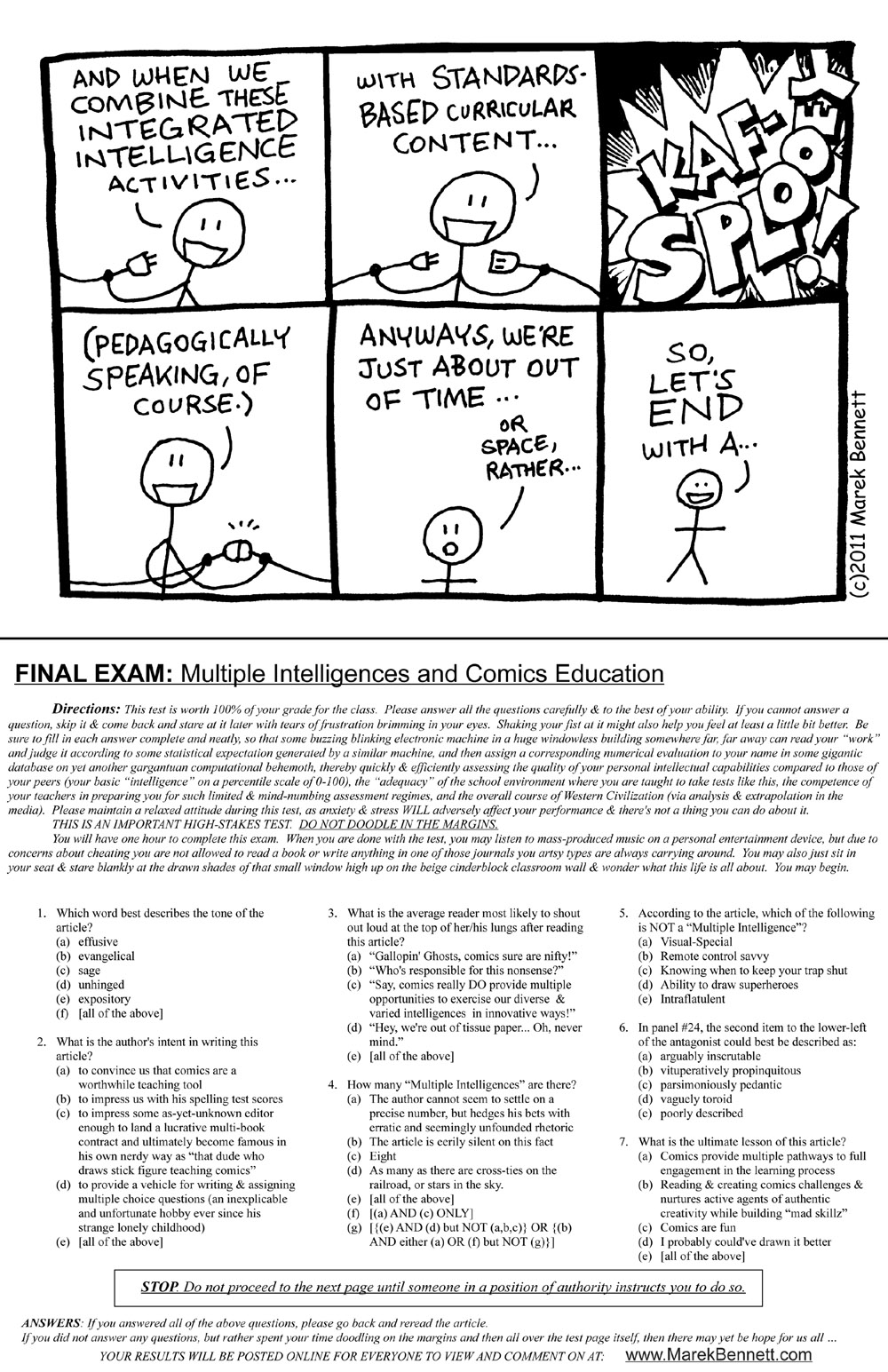 image relating to Printable Multiple Intelligence Test for Adults called Several Intelligences Comics Schooling (On the web +