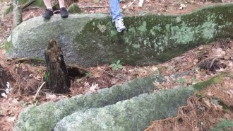 Off to the side of the two native pestles, we found evidence of more recent granite quarrying by European settlers.